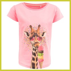 Stones and Bones t-shirt Camille - giraf Pink